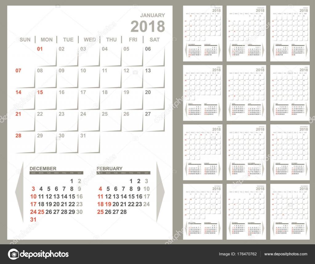 Monatliche Planer 2018 Kalendervorlage — Stockvektor © tuulijumala ...