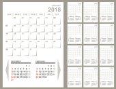 Monthly planner 2018 calendar template