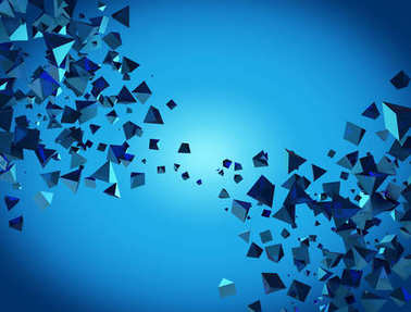 Abstract blue 3D pyramids flow background.