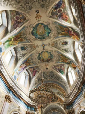 Ternopil, Ukraine - November 04: Beautiful ceiling in the Ukrain