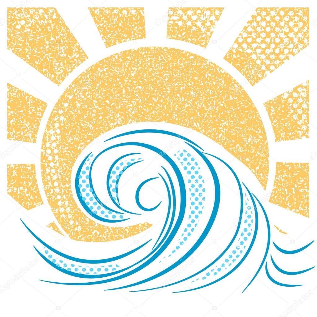 Vintage sea waves and sun. Vector illustration of sea landscape