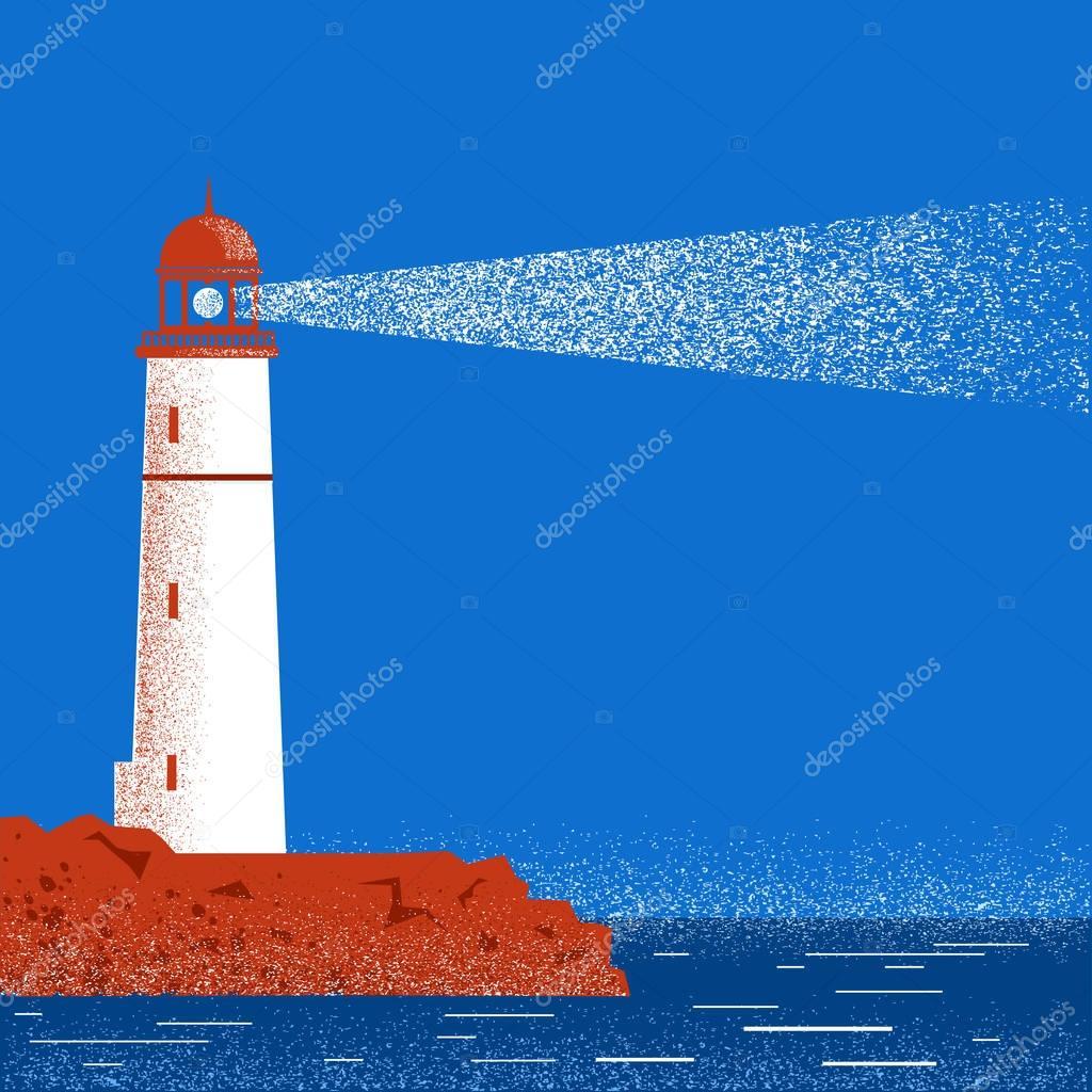 Lighthouse night seascape horizon. Vector illustration