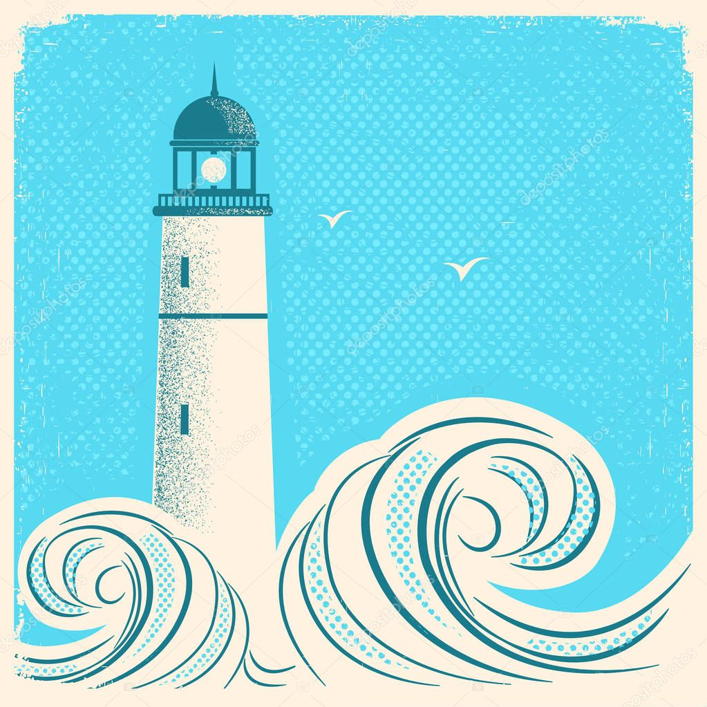 Lighthouse blue poster.Vector seascape image on old paper