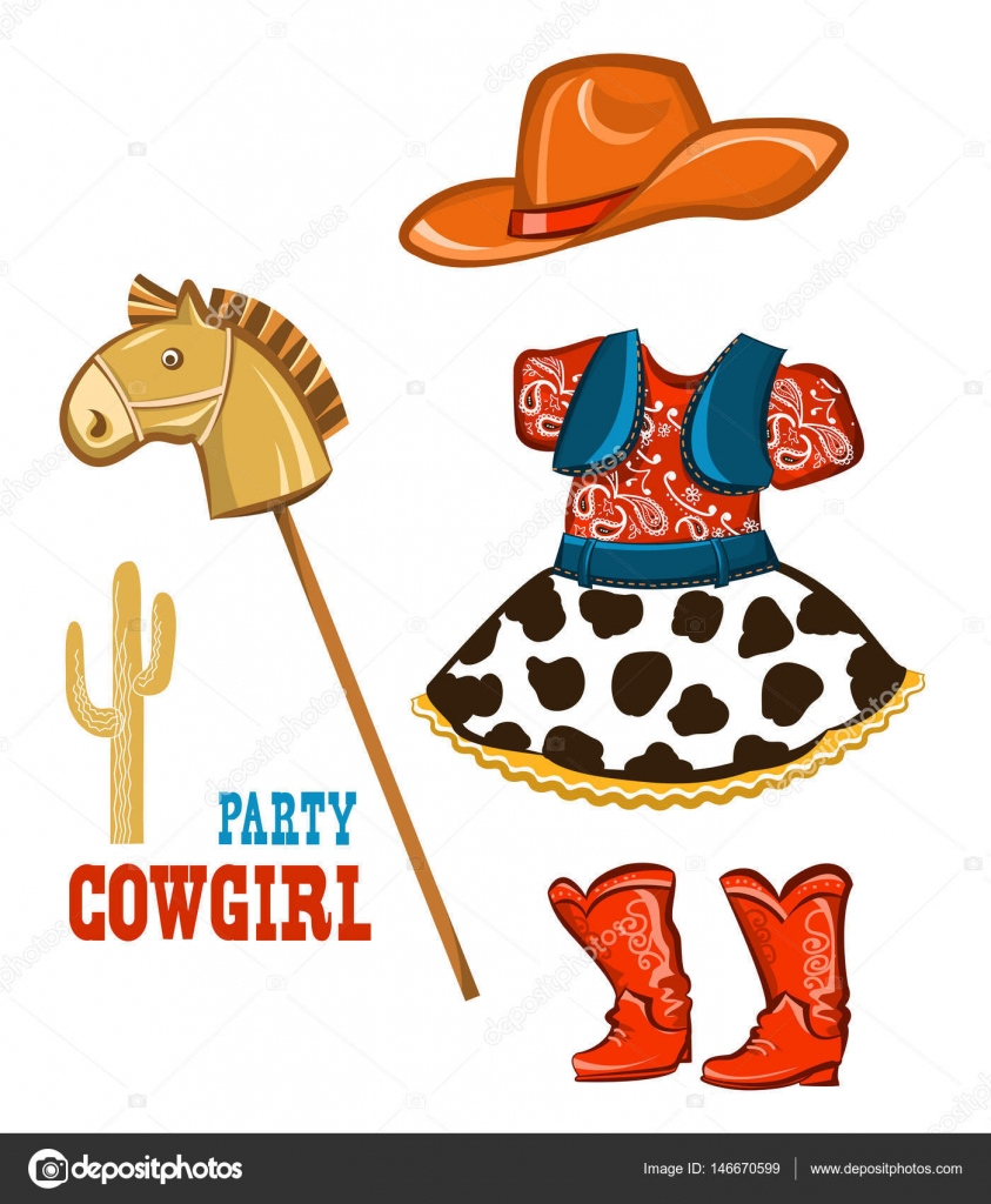 Cowgirl Kleidung für Partei isoliert auf weiss — Stockvektor ...