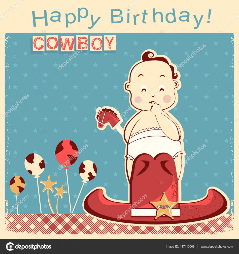 Cowboy happy birthday card with little baby — Stock Vector