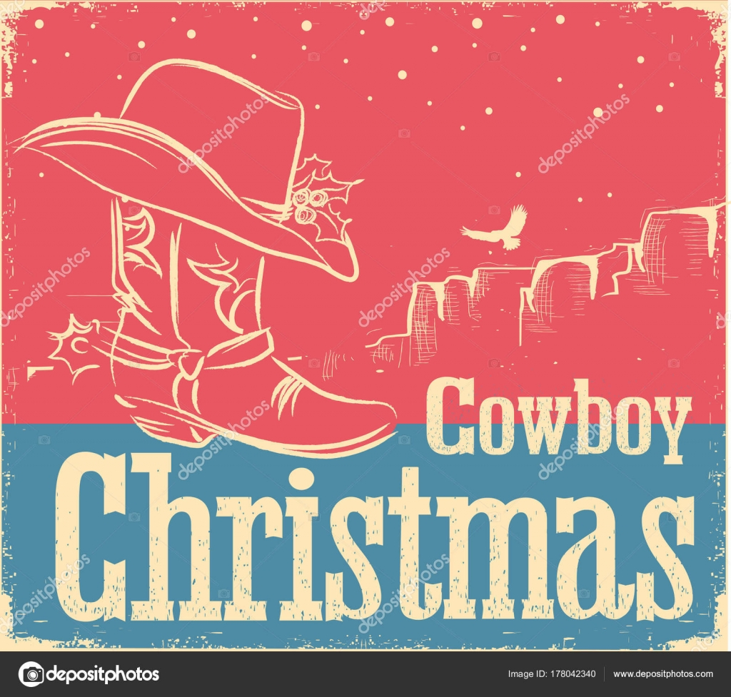 Cowboy retro Christmas card with western shoe and western hat ...