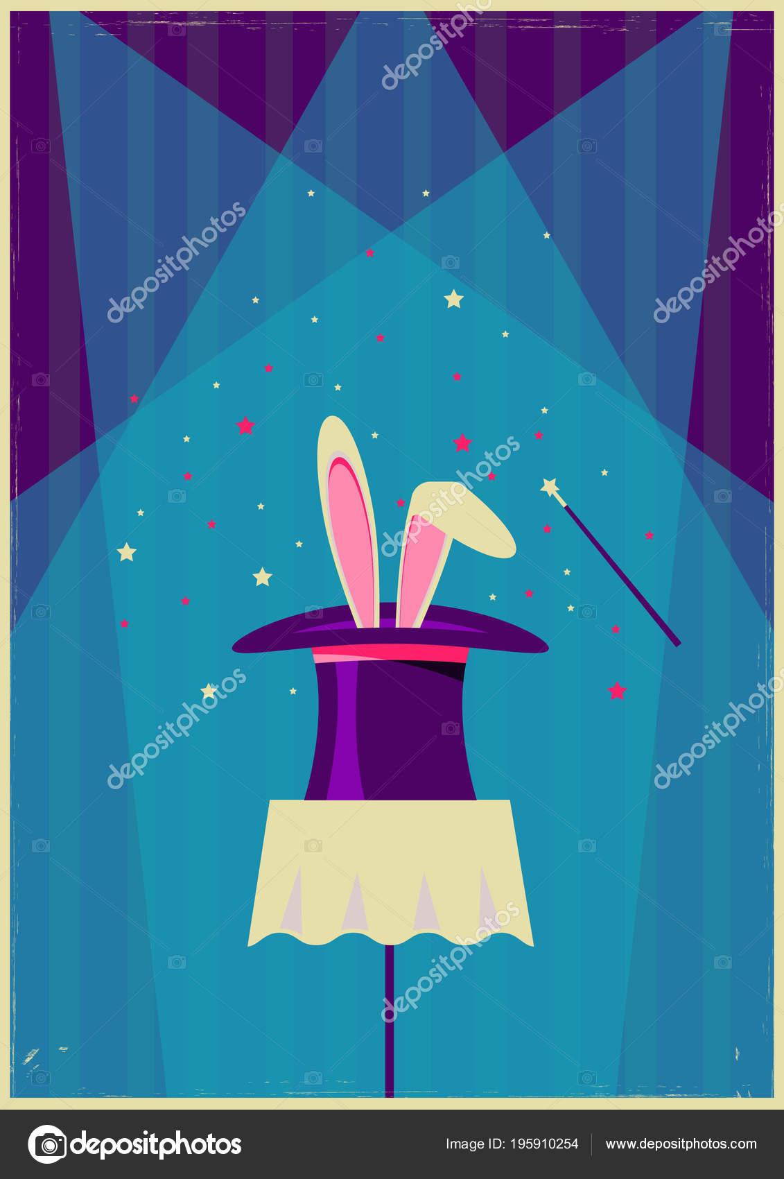 Conejo blanco en el sombrero mágico. Cartel antiguo vector de magia Mostrar  texto– Ilustración de Stock 784d14a725e