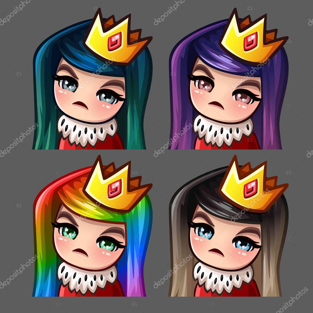 Emotion icons queen female with long hairs for social networks and stickers