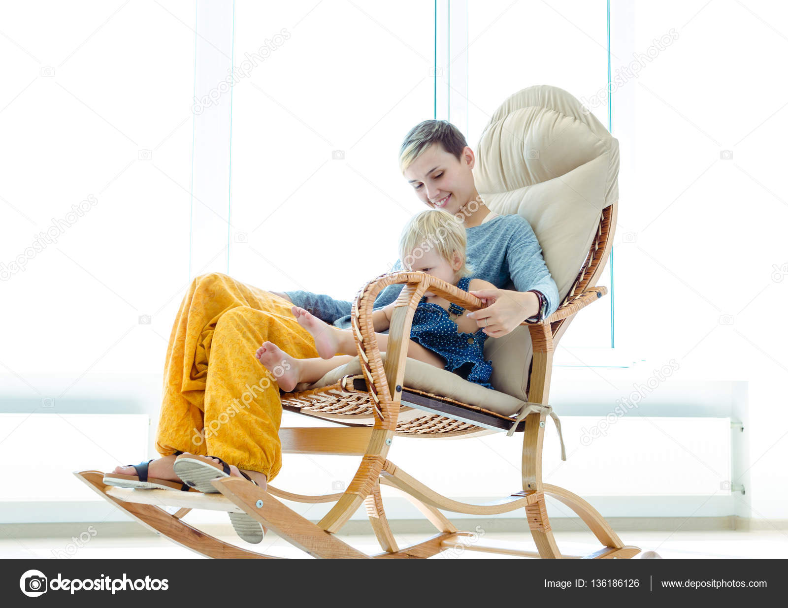 Brilliant Mother Daughter Sitting Rocking Chair Indoor Photo Pdpeps Interior Chair Design Pdpepsorg
