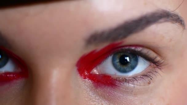 Gyönyörű női szemek világos make-up részlete