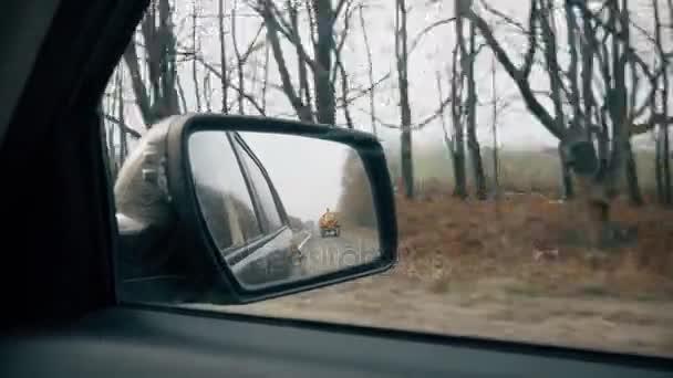 Nebenstraße spiegelt sich im Autospiegel, Auto fährt schnell.