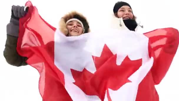 Kanadischer Fan mit der Nationalflagge.