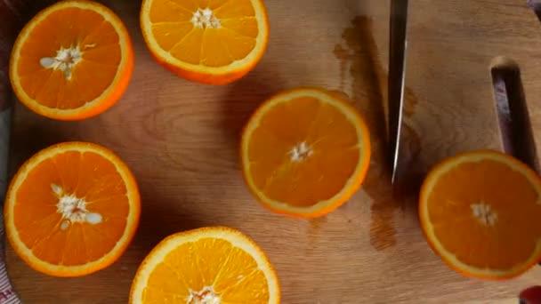 shot of orange halves, video