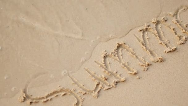 Words in the sand near the sea, summer vacation and romance
