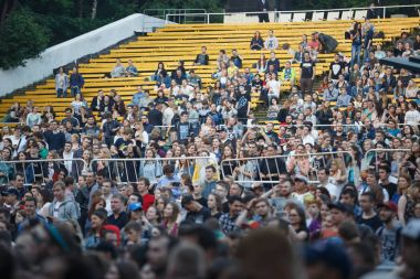 Concert audience have fun at live open air event
