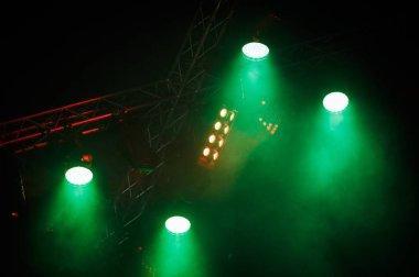 Massive concert lighting installation with bright lights