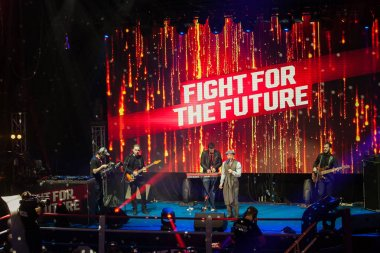 MOSCOW - 18 MARCH,2016: Big professional boxing event Fight For The Future at indoor sport arena.Rap singer Batishta performing live music set during the pause