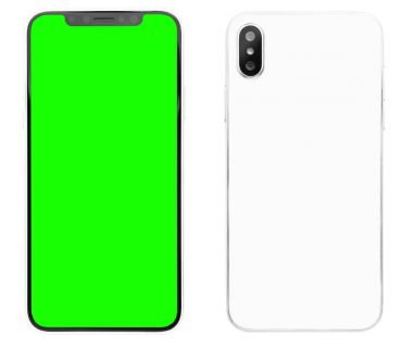 New smart phone device with dual vertical photo camera looks like iphone x isolated on white studio background.Touchscreen mobile phone with green chroma key screen for mobile application logo.New smart phone looking like iphone 10