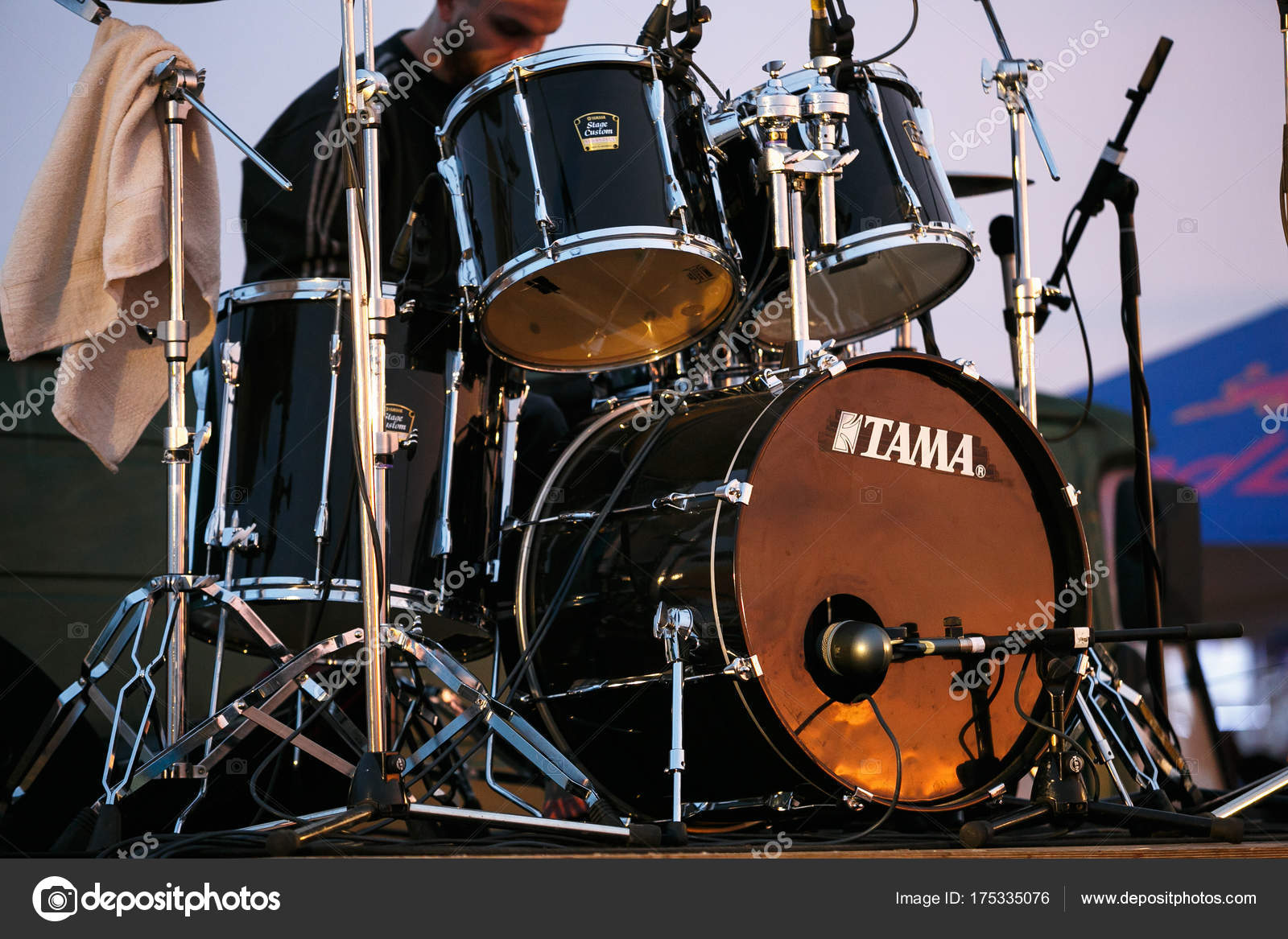 Professional Drum Set On Rock Concert Stage Stock Editorial Photo