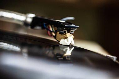 Retro dj turntable deck.VIntage disc jockey vinyl record player