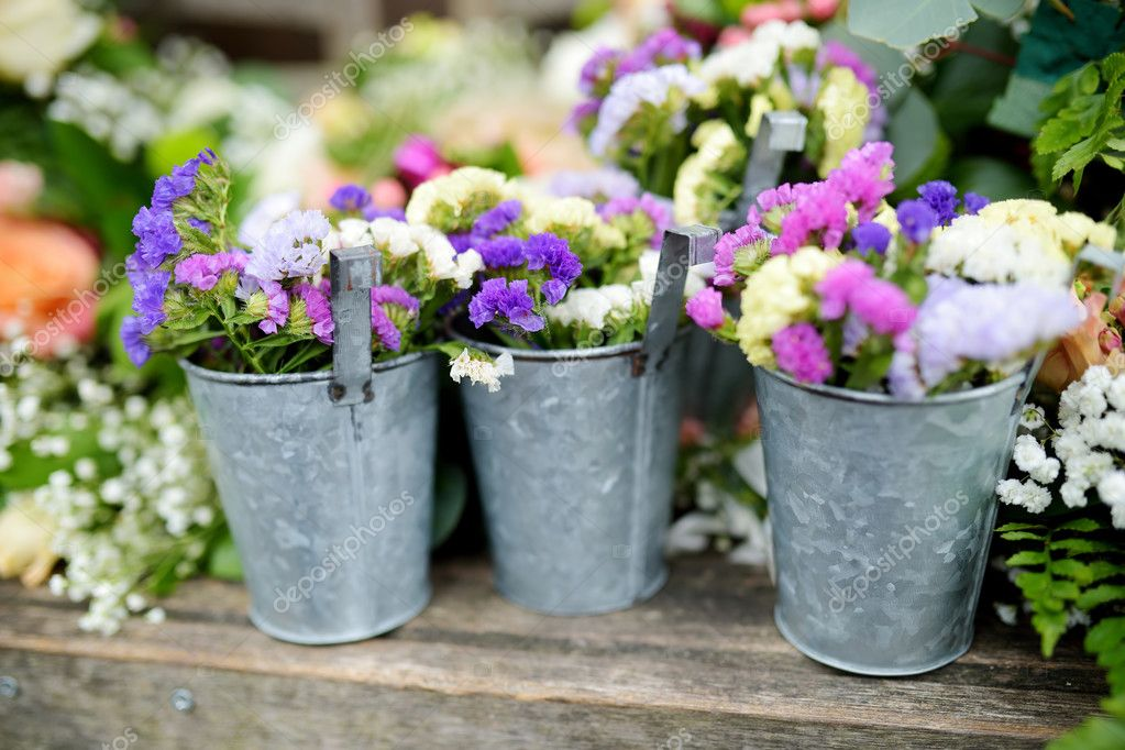 Three buckets of beautiful purple and white flowers stock photo three buckets of beautiful purple and white flowers stock photo mightylinksfo