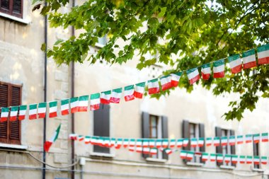 Rows of small Italian flags