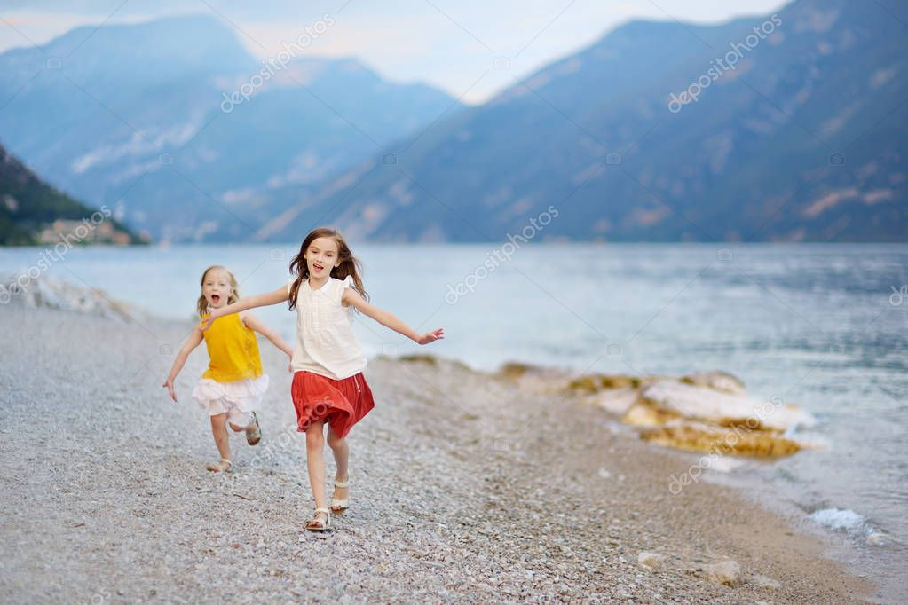sisters having fun on beach