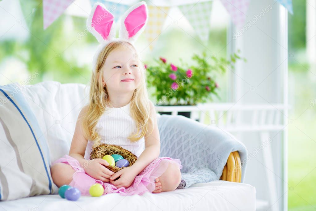 girl with colorful eggs