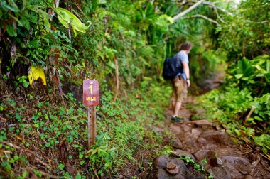 tourist hiking on famous Kalalau trail