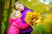 Sestřičky s podzimní listí