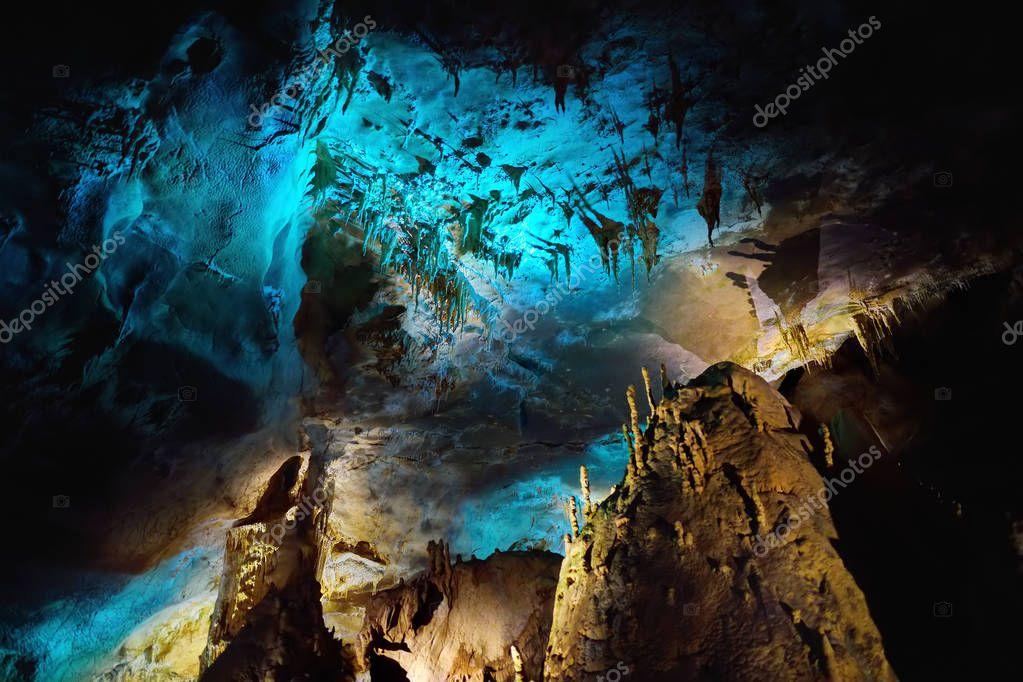 amazing insides of Kumistavi cave in Georgia