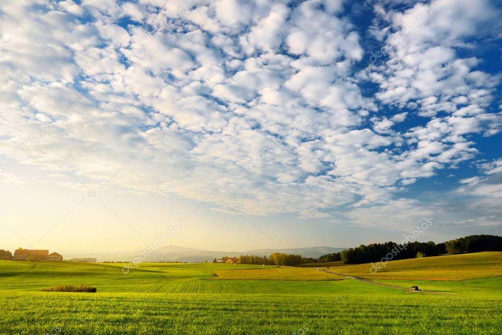 Austrian countryside on sunset.