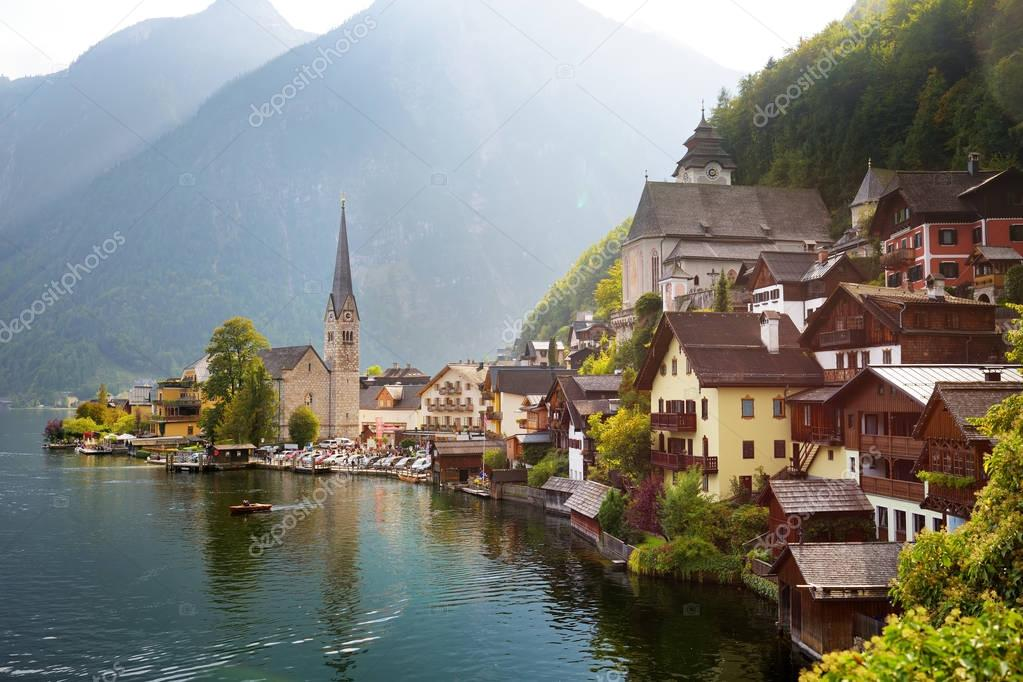 Hallstatt lakeside town in Austrian Alps