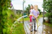 Fotografia Adorabili bambine che giocano con un tubo da giardino il giorno di estate caldo. Attività allaperto per bambini