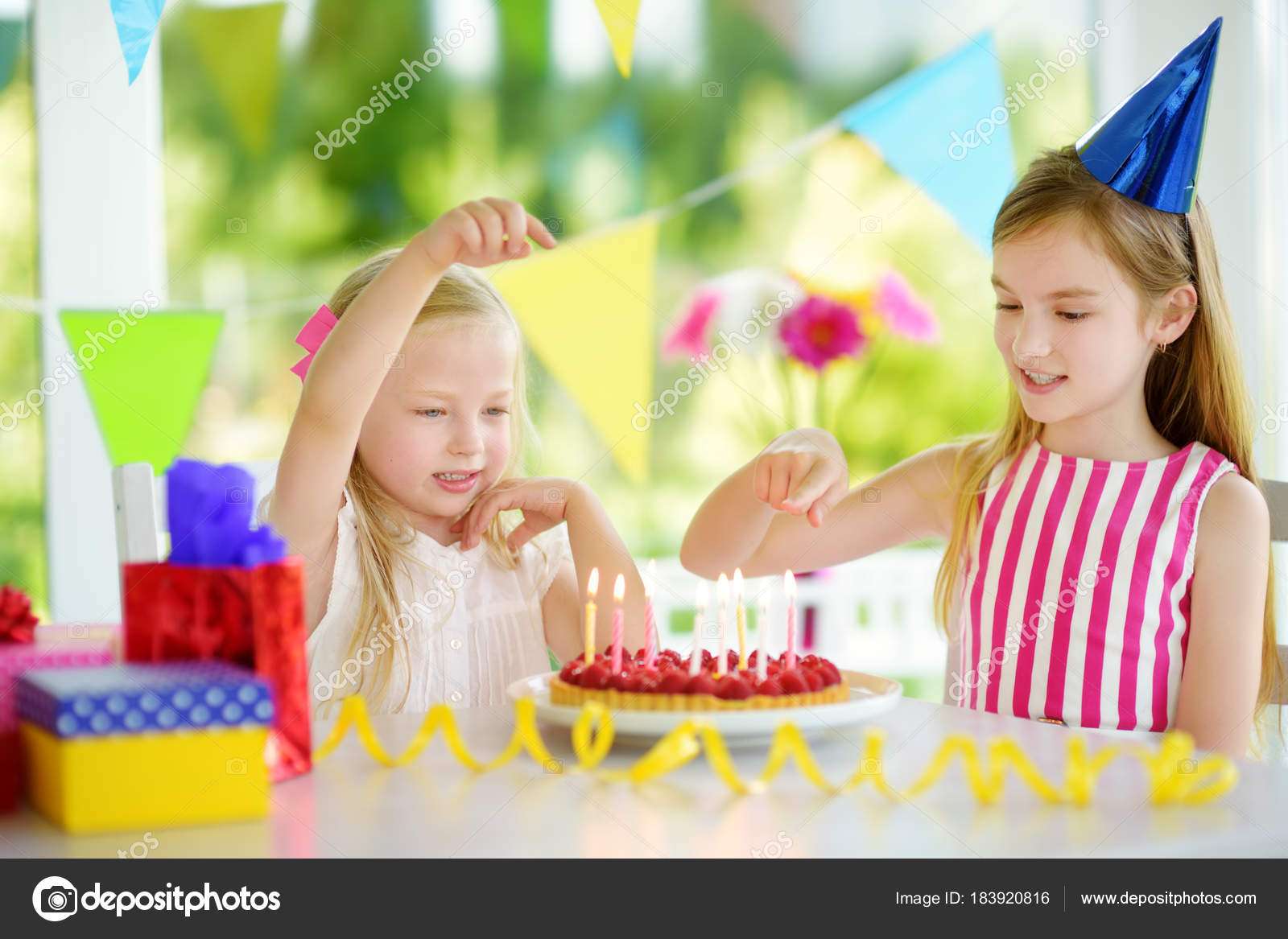 Adorable Girl Having Birthday Party Home Blowing Candles Birthday Cake Stock Photo C Mnstudio 183920816,How To Make Home Decoration