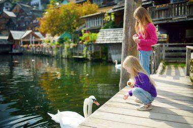 Two little girls feeding swans in Hallstatt lakeside town in the Austrian Alps in beautiful evening light on beautiful day in autumn