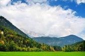 Malebný pohled bavorských Alp s majestátními horami na pozadí. Bavorsko, Německo