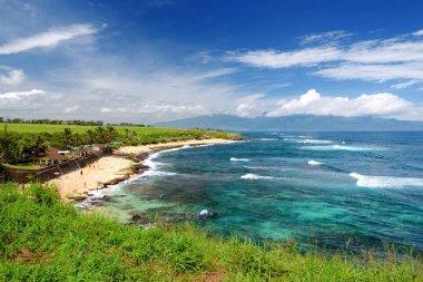 Scenic view of Hookipa beach with white sand beach on Maui, Hawaii, USA