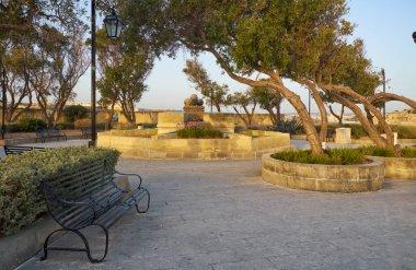 Gardjola Gardens in the early morning, Senglea, Malta