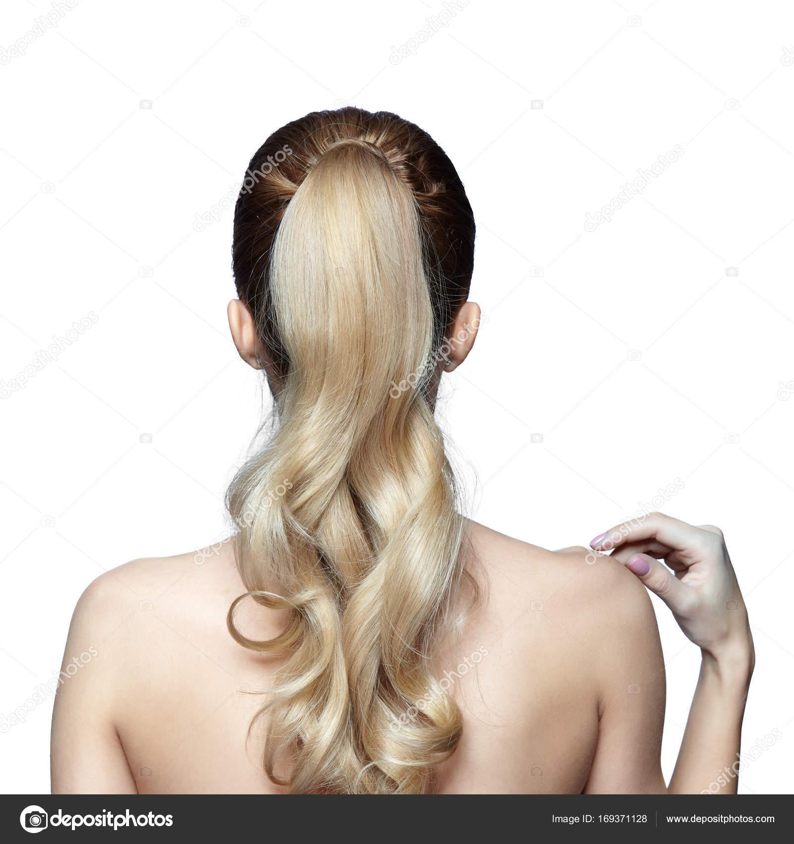 Blonde Frau Von Hinten Mit Lange Haare Im Pferdeschwanz Stockfoto