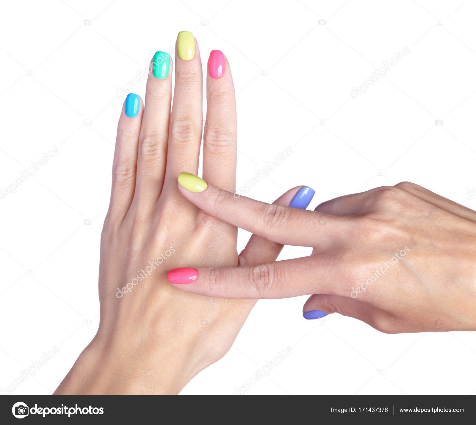 Female fingers with fancy nails manicure isolated on white back ...