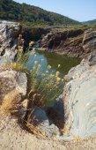 Fotografie Guadiana Fluss fließt durch die tiefe Schlucht in Schiefer. Pulo