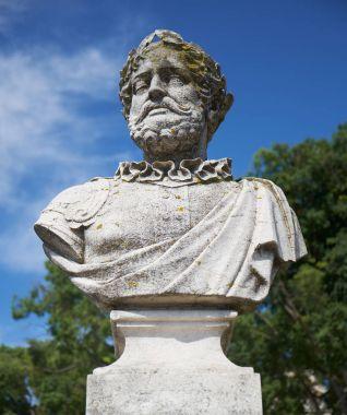 Bust of Camoes in the Garden of Saint Peter of Alcantara. Lisbon