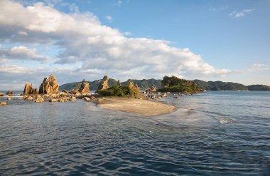 Hashigui-iwa (Bridge Pillar Rocks) at the Kushimoto. Wakayama Prefecture. Japan