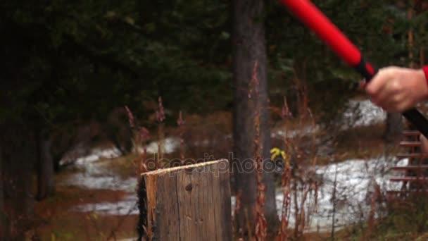 Lumberman cutting wooden log