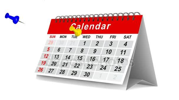 Kalendář s kolíky na bílém pozadí. 3D vykreslování