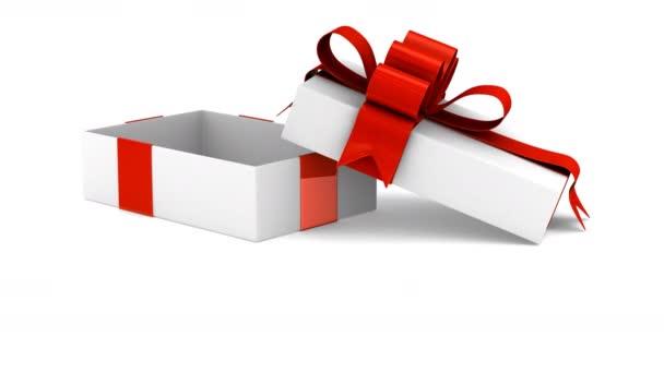 Bílá Dárková krabice a srdce. 3D vykreslování