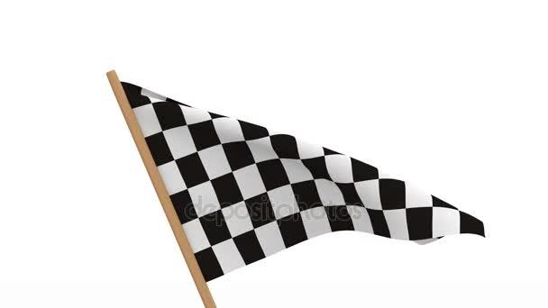 Zielflagge auf weißem Hintergrund. 3D-Bild-Renderer