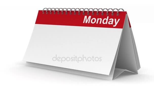 Týdenní kalendář na bílém pozadí. 3D vykreslování obrazu