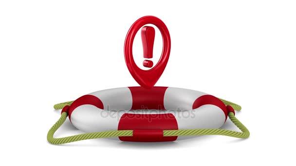 Ausrufezeichen in Rettungsring auf weißem Hintergrund. 3D-Darstellung